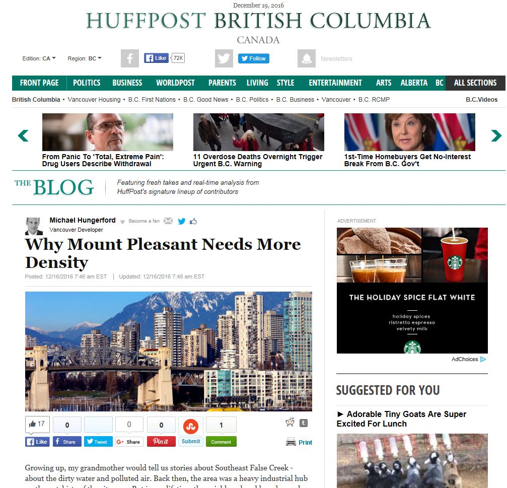Huffingtonpost.ca - Why Mount Pleasant Needs More Density