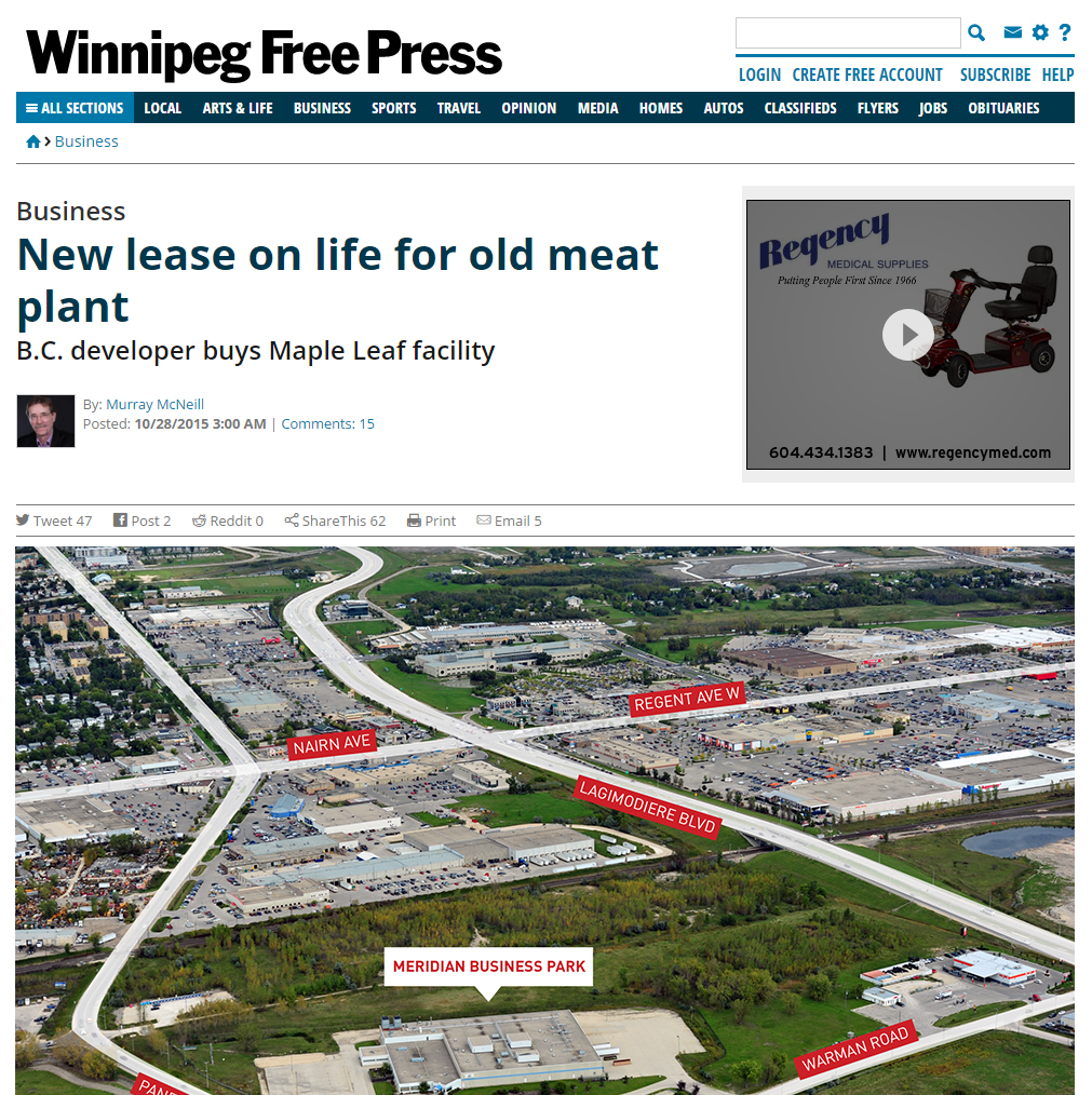Winnipeg Free Press - New Lease on Life for Old Meat Plant